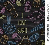 sushi doodle line vector icons...   Shutterstock .eps vector #1351284704