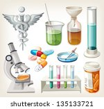 set of supplies used in... | Shutterstock .eps vector #135133721