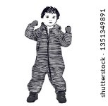 baby in romper with stripes.... | Shutterstock .eps vector #1351349891