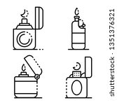 cigarette lighter icons set.... | Shutterstock . vector #1351376321
