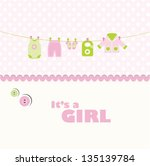 Stock vector baby girl arrival card baby shower card with copy space 135139784