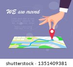 we are moved  changed address ... | Shutterstock .eps vector #1351409381