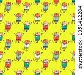 seamless pattern of cat in...   Shutterstock .eps vector #1351412204