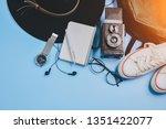overhead view of traveler's... | Shutterstock . vector #1351422077