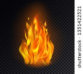 realistic fire or 3d flame  hot ... | Shutterstock .eps vector #1351422521