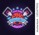 basketball club neon design or... | Shutterstock .eps vector #1351479551