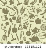 vector silhouettes of kitchen... | Shutterstock .eps vector #135151121