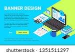 vector isometric banner design. ... | Shutterstock .eps vector #1351511297