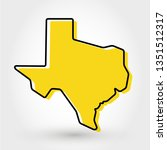 yellow outline map of texas ... | Shutterstock .eps vector #1351512317