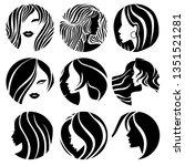 set of illustrations of woman... | Shutterstock .eps vector #1351521281