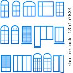 set of blue window icons on... | Shutterstock .eps vector #135152834