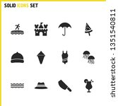 sunny icons set with parasol ...