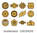 set of vintage brown labels | Shutterstock .eps vector #135154295
