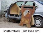 old gray car frame disassembled ...   Shutterstock . vector #1351561424