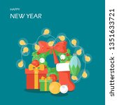 happy new year vector flat...   Shutterstock .eps vector #1351633721