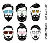 illustration of many faces of... | Shutterstock .eps vector #1351634684