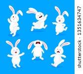 set of  white rabbits in...   Shutterstock .eps vector #1351634747