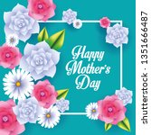 happy mothers day card | Shutterstock .eps vector #1351666487