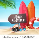 hello summer vector design... | Shutterstock .eps vector #1351682501