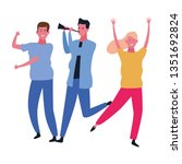 people dancing and having fun | Shutterstock .eps vector #1351692824
