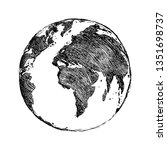 single black sketch globe... | Shutterstock . vector #1351698737