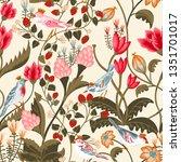 birds and butterfly pattern... | Shutterstock . vector #1351701017