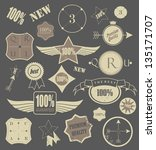 set of retro vintage labels.... | Shutterstock .eps vector #135171707
