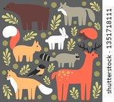 Stock vector flat style illustration with deer fox bear squirrel bird wolf hare hedgehog vector set of 1351718111