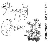 vector of happy easter word... | Shutterstock .eps vector #1351748174