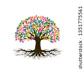 vibrant tree logo illustration...   Shutterstock .eps vector #1351775561