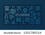 cloning blue concept thin line... | Shutterstock .eps vector #1351789214