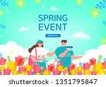 spring shopping illustration.... | Shutterstock .eps vector #1351795847