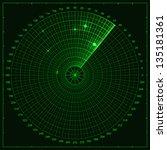 green radar screen. vector...   Shutterstock .eps vector #135181361