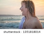 girl rests and has fun in sea...   Shutterstock . vector #1351818014