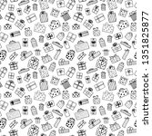 hand drawn gift boxes set... | Shutterstock .eps vector #1351825877