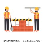 worker construction equipment | Shutterstock .eps vector #1351836707