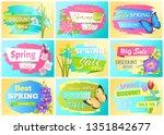 spring set of labels discounts...   Shutterstock . vector #1351842677