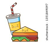 kawaii fast food | Shutterstock .eps vector #1351849097