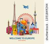 travel in europe concept.... | Shutterstock .eps vector #1351849244