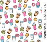 kawaii fast food | Shutterstock .eps vector #1351853747