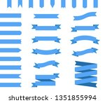 blue ribbons set in flat design | Shutterstock . vector #1351855994