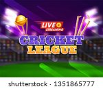live cricket concept with night ... | Shutterstock .eps vector #1351865777