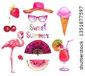 sweet summer watercolor... | Shutterstock . vector #1351877597