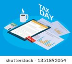 tax day with clipboard and... | Shutterstock .eps vector #1351892054