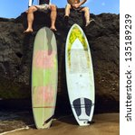 two friend surfer sitting on...   Shutterstock . vector #135189239