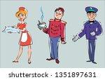 vector set of images of hotel... | Shutterstock .eps vector #1351897631