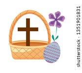 cross catholic in basket wicker ... | Shutterstock .eps vector #1351901831