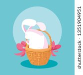 cute rabbit of easter in basket ... | Shutterstock .eps vector #1351904951