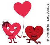 couple hearts with ballon... | Shutterstock .eps vector #1351905671
