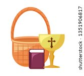 chalice sacred with holy bible... | Shutterstock .eps vector #1351906817